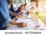 business team working on laptop ... | Shutterstock . vector #447096844