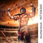 Brutal gladiator on coliseum victory field. - stock photo