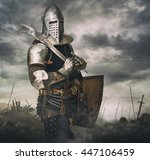 knight in armour on battle rise ...