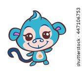 vector cute monkey