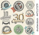 anniversary sign collection and ... | Shutterstock .eps vector #447117379