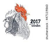 rooster bird drawing... | Shutterstock .eps vector #447119860