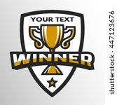 winner sports trophy emblem... | Shutterstock . vector #447123676