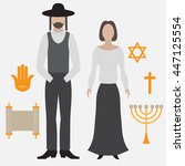 orthodox jew  man and woman.... | Shutterstock .eps vector #447125554