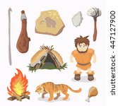 stone age icons primitive man.... | Shutterstock .eps vector #447127900