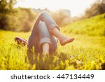 young hipster girl lying on the ... | Shutterstock . vector #447134449