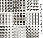 set of 9 black and white... | Shutterstock .eps vector #447136894