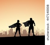 super hero in city | Shutterstock .eps vector #447140008