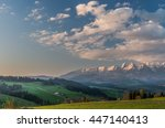 beautiful spring panorama over... | Shutterstock . vector #447140413