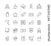 hotel icons set  vector thin... | Shutterstock .eps vector #447141940