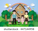 happy family having fun at home.... | Shutterstock .eps vector #447144958