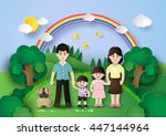 happy family having fun in the... | Shutterstock .eps vector #447144964
