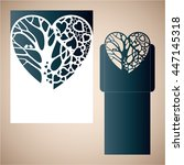 openwork heart with a tree... | Shutterstock .eps vector #447145318