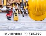 leather toolbelt hard hat on... | Shutterstock . vector #447151990