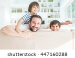 dad and son at home | Shutterstock . vector #447160288