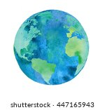 hand painted earth globe....   Shutterstock . vector #447165943
