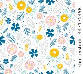 floral doodle seamless pattern...   Shutterstock .eps vector #447175498