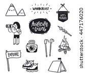 outdoor adventures doodle... | Shutterstock .eps vector #447176020