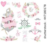 nautical floral wedding set | Shutterstock .eps vector #447180178