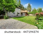countryside house with wooden... | Shutterstock . vector #447194374