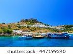 greece. rhodes island. the town ... | Shutterstock . vector #447199240