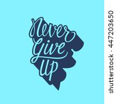 never give up lettering
