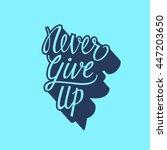 never give up lettering | Shutterstock .eps vector #447203650