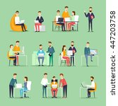 business characters. co working ... | Shutterstock .eps vector #447203758