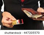 hands holding money with wallet ...   Shutterstock . vector #447205570