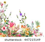 watercolor painting of leaves... | Shutterstock . vector #447215149