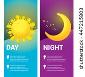 sun and moon in sky  day and... | Shutterstock .eps vector #447215803