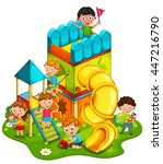 kids playing at the park vector ... | Shutterstock .eps vector #447216790