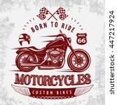 motorcycle grey poster with... | Shutterstock .eps vector #447217924
