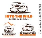 camper van car logo  emblems... | Shutterstock .eps vector #447220084