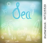 vacation doodles set. handmade... | Shutterstock . vector #447225520