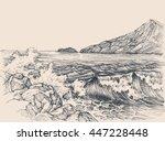 sea waves breaking on rocky... | Shutterstock .eps vector #447228448
