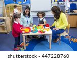 teachers playing with plastic... | Shutterstock . vector #447228760