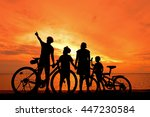 biker family silhouette at the... | Shutterstock . vector #447230584
