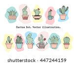 colorful cactus set in simple... | Shutterstock .eps vector #447244159