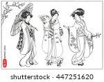 Set Of Japanese Women In Kimono....
