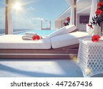 luxury swimming pool with... | Shutterstock . vector #447267436