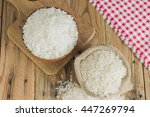 cooked rice in bowl with rice... | Shutterstock . vector #447269794