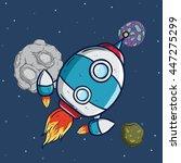 spaceship or rocket flying in... | Shutterstock .eps vector #447275299