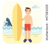 young surfer pose next to his... | Shutterstock .eps vector #447281020