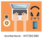 typing on laptop keyboard while ...   Shutterstock .eps vector #447281380