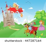 knight battling a dragon to... | Shutterstock .eps vector #447287164