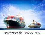container cargo ship in the...   Shutterstock . vector #447291409