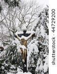 snowy gold jesus on the old... | Shutterstock . vector #44729200