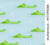 Crocodile In Water Seamless...