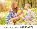 happy cute little girl with... | Shutterstock . vector #447306274